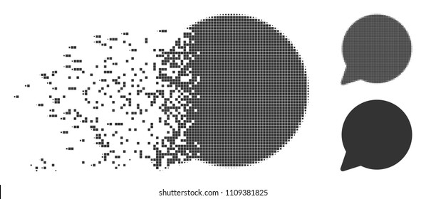Gray vector hint balloon icon in dispersed, dotted halftone and undamaged solid variants. Disappearing effect uses square dots. Particles are arranged into disappearing hint balloon pictogram.