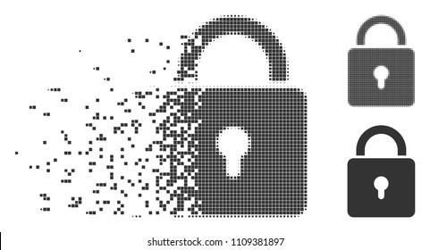 Gray vector lock icon in dissolved, pixelated halftone and undamaged solid versions. Disintegration effect involves square dots. Elements are composed into disappearing lock shape.