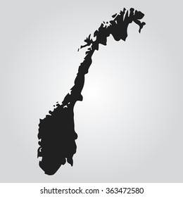 Gray Vector map Norway. Isolated vector Illustration. Black on Gradient background. EPS Illustration.