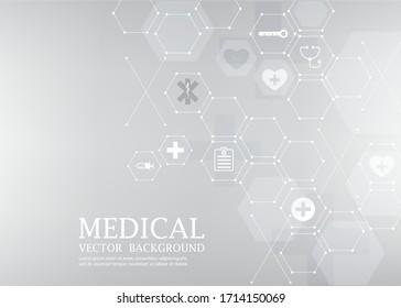 gray vector medical wallpaper.abstract hexagon shape.