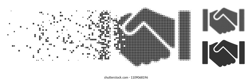 Gray vector relation handshake icon in dispersed, dotted halftone and undamaged solid variants. Rectangle dots are used for disappearing effect.