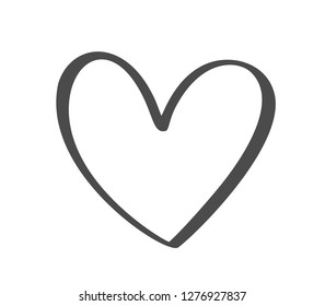 Gray Vector Valentines Day Hand Drawn Calligraphic Heart. Holiday Design element valentine. Icon love decor for web, wedding and print. Isolated Calligraphy lettering illustration
