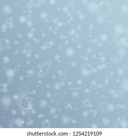 Gray Vector Winter background with flay snowflakes