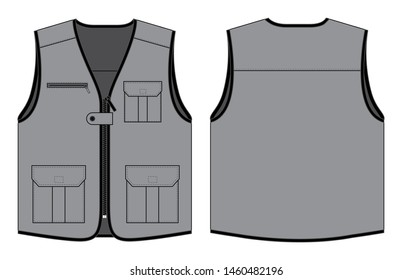 Gray Vest Design With Multiple Pockets and Black Edging Vector.Front and Back Views.