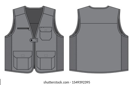 Gray Vest With Mesh In Side And Multi Pockets Design Vector.Front and Back View.