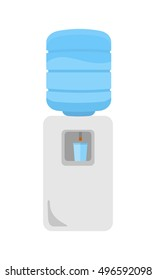Gray water cooler in flat. Plastic bottle of clean blue water. Office interior element. Water cooler icon. Electric cooler for potable water. Isolated vector illustration on white background.