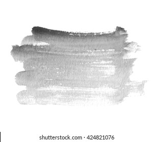 Gray watercolor hand drawn isolated stroke vector stain on white background. Abstract paper texture shape scribble element for template, banner, web. Water color wet brush paint aquarelle illustration