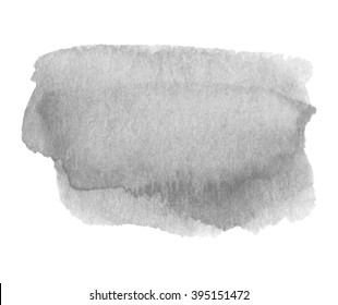 Gray watercolor ink shine hand drawn paper grain texture isolated vector stain on white background for decoration, design, scrapbook, print. Abstract water artistic brush paint dark splash element