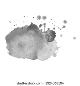 Gray watercolor spot with droplets, smudges, stains, splashes. Grayscale blot in grunge style.