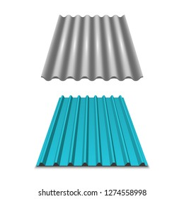 Gray wavy slate. Slate Roofing. Corrugated metal roof,  metal siding, profiled sheeting. Vector illustration on white background