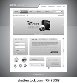 Gray Web Elements Website Design Components: Buttons, Form, Slider, Scroll, Icons, Tab, Menu, Navigation Bar, Login, Speech, Search