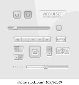 Gray Website Design Elements: Buttons, Form, Slider, Scroll, Icons, Tab, Menu, Navigation Bar