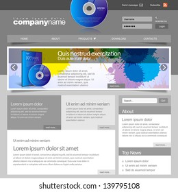 Gray Website Template 960 Grid. For Software firm. vector