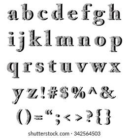 Gray White Alphabet Polygon Style, Creative Design Templates