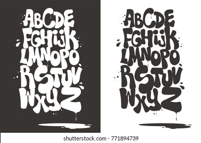 Gray and white bubble graffiti font vector