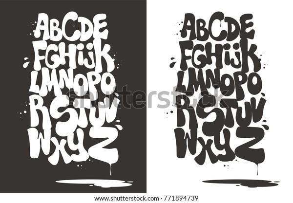 Gray White Bubble Graffiti Font Vector Stock Vector (Royalty