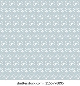 Gray and white bubble wrap packing material seamless pattern, vector