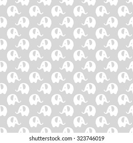 gray with white elephants pattern, seamless texture background