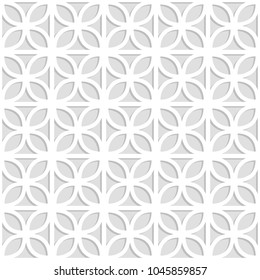 Gray and white laser cut paper trefoil leaves lattice geometric seamless pattern, vector