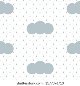 Gray and white rain drops falling out the clouds, seamless pattern, vector