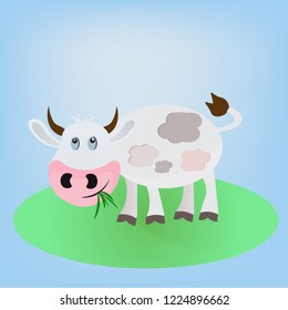 gray white vector cartoon cheerful cow animal standing on the field and eating green grass