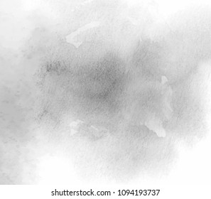 Gray white watercolor paper texture brush paint vector grunge graphic background. Abstract hand drawn dark color smoke blur art canvas for card, vintage poster, design, tag