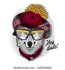 Gray wolf with glasses, cigarette, red checkered cap and scarf. Hand drawn illustration of dressed wolf. Vector illustration.