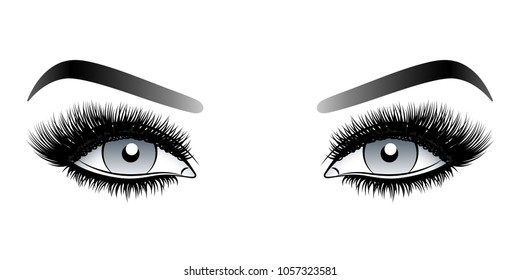 Gray woman eyes with long false lashes with eyebrows.Vector illustration isolated on white background. Ink drawing. Eye makeup.