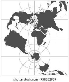 Gray world in different cartographic projections. 30 degrees grid of Meridians and parallels.