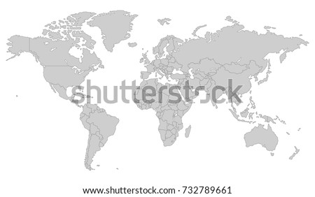 Gray World Map All Country Borders Stock Vector Royalty Free