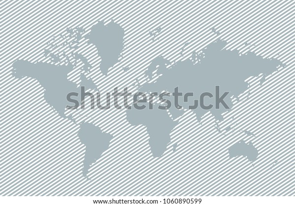 Gray world map with lines. Hatched world map. Flat design. One line style. Simple modern minimalistic style. Cute linear design element. Simple illustrated illustration for printing, web