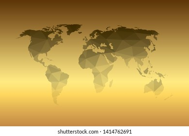 Gray world map low polygon on gold gradient background. Earth land shape template chart.