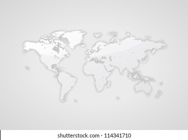 Gray world map. Vector saved as eps-10, file contains objects with transparency.