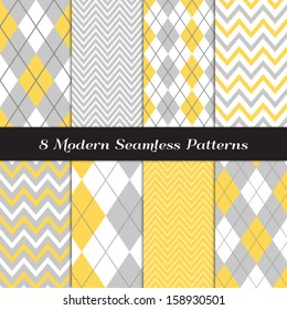 Gray, Yellow and White Argyle and Chevron  Patterns. Light Background in Pastel Colors. Pattern Swatches included and made with Global Colors.