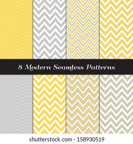 Gray, Yellow and White Thick and Thin Chevron  Patterns. Blog Background in Pastel Colors. Pattern Swatches included and made with Global Colors.