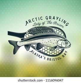 Grayling Fly Fishing Logo. The Lady of the River – Arctic Grayling. Lady of the stream.