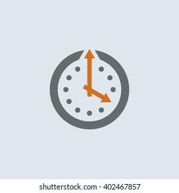 Gray-orange Clock Round Icon