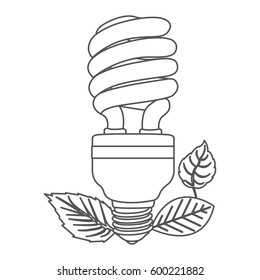 technical drawing small pact fluorescent light stock vector  grayscale contour with fluorescent bulb spiral and leaves vector illustration