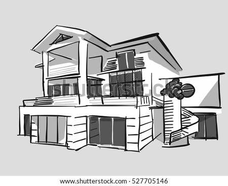 Grayscale Drawing Dream House Hand Drawn Stock Vector Royalty Free
