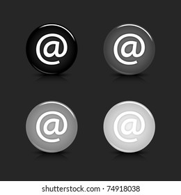 Grayscale glossy round web 2.0 button at icon with black reflection and shadow on gray. 10 eps