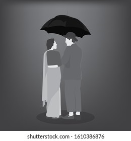 A grayscale illustration of man and a woman sharing an umbrella. More like a black & white bollywood movie.