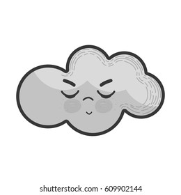 grayscale kawaii angry cloud icon