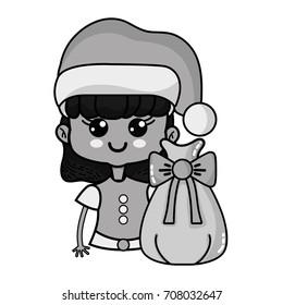 grayscale nice girl with hat and christmas bag