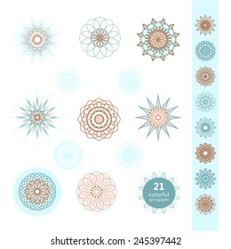 Grayscale Ornament Set. Vector Spirographs Collection