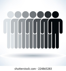 Grayscale seven people (man figure) with gray drop shadow isolated on white background in flat style. Graphic clip-art design elements save in vector illustration 8 eps
