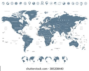 World map with country names images stock photos vectors grayscale world map and globe icons illustration highly detailed vector illustration of world map gumiabroncs Choice Image