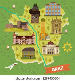 Graz town map with sightseeing landmarks. Arnold Schwarzenegger Museum and opera house, franciscan church and Eggenberg palace, Franz Ferdinand Mausoleum, Gosting castle. Travel and tourism theme