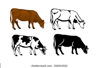 grazing cow in brown color, silhouette, contour and patched silhouette  set