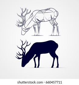 Grazing Horned Deer Silhouette with Sketch Template on Gray Background