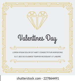 Grea Square Vintage Invitation Sign in Art Deco or Nouveau Epoch 1920's Gangster Era Vector to Valentines Day Party Gatsby Style